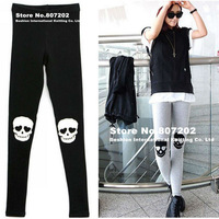 NeFree Shipping w Fashion Skull Skeleton Knee Patch Tights Pants Ladies&#39; Women&#39;s Leggings Gray/Black