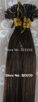 """Wholesale Indian 18""""-32"""" Women Remy Keratin Nail Tip U tip Human Hair Extensions Straight 1g/s 100s Dark Brown #4"""