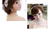Free  shipping  Bride pearl soft chain hair accessory white rhinestone flower hair accessory wedding accessories