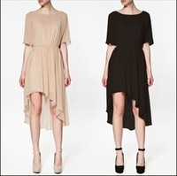 Fashion Best Quality Clothes Brand Casual Front Short Back Long Chiffon HIgh Low Dress LY131470