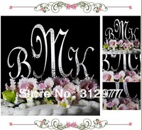 Free shipping Crystal Monogram Initial Letter Wedding Cake Topper Top(30pieces/lot) big size