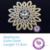 Bright Luster Sunflower Rhinestone Appliques 11.5cm Patch Gold  for garment wedding dress