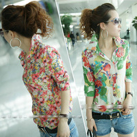 Free Shipping 2014 Fashion Womens Ladies Summer Cool Long Sleeve Button Floral Print Casual Shirt Blouse Tops Blusas XS S M 0031