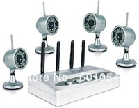 380TVL 2.4G IR Wireless Camera CCTV Kit , Wireless Camera System , 4 Channel Quad Picture Wirless Network DVR RC531A+802*4