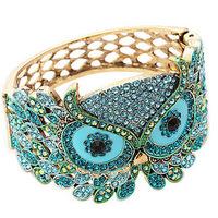 fashion luxury full rhinestone Retro owl wedding bracelet beatyful rhinestone wide bracelet female bangles jewelry free shipping
