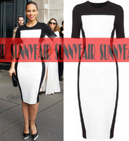Fashion Womens Celeb Monochrome Fitted Black White Hit color Ladies Pencil Bodycon Slim charming Cocktail Midi Dress NEW