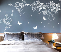 Nine nine wall stick a big size of bedroom the head of a bed TV sofa background sticker 90719 butterfly flower cane vines