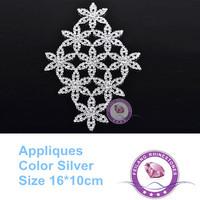 Crystal rhinestone flower patch silver base rhinestone appliques 16cm  for garment wedding dress