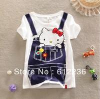 2013 Stylish Hello Kitty Summer Cartoon T-shirt Cute Leisure Cotton Denim Straps Printing short sleeve T-Shirt  dropship