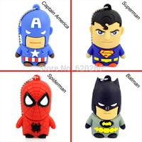 Free shipping wholesales4gb/8GB/16GB/32GB Rubber Cartoon Captain America USB 2.0 Flash Pen Drive Memory Stick U Disk Thumb Drive
