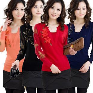 2014 New Winter women sweater flower embroidery knitted wool lady top blouse woman shirt knitwear Red,Orange,Black.Blue S~3XXXL