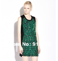QZ301 New Fashion Ladies's elegant Vintage Green Leopard Print dress ruffles Evening party casual slim sexy brand designer dress