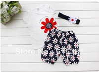 5sets/lot 2013 New arrival Baby suit Girl's summer clothing sets kids wear : hair band + flowers short sleeve + pants