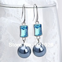CDE 2013 LUXURY 925 silver anti-allergy Pendant Blue earring made with swarovski element crystal and pearl earring