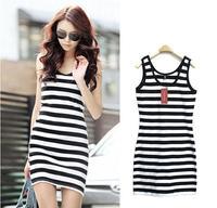 new fashion 2014 Candy color stripe slim hip sexy double u tank dress one-piece dress basic WC0219