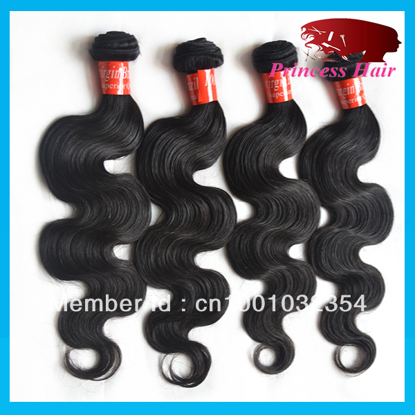 princess hair products:discount hair weave online,brazillian virgin hair body wave 3pcs/lot4pcs/lot , 100g/bundle,color 1b(China (Mainland))