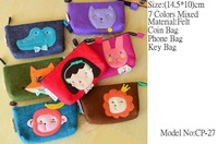 7pcs Wholesale Freeshipping Women's Fashion Coin Purse Felt Purse Bag/Coin Bag/Key Bag/(CP-27)