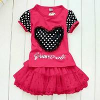 Free shipping! Wholesale 5sets!Children's clothing, love applique lace gauze dress T-shirt +skirt /children's suit GQ-230