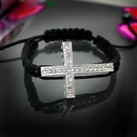 Minimum Order $6 Black Lace Style Silver Lced Out Sideways Cross Macrame Bracelet  In Bracelet Lose Money Price B2-071