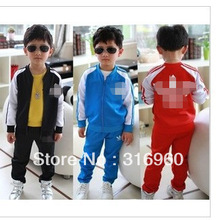 HOT ! 5 set / lot 2013 latest children clothing coat + pants spring autumn fashion boys girls kids suit clothes / Free shipping(China (Mainland))