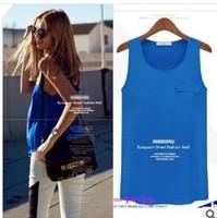 women blouse shirt lace Chiffon Patchwork Summer 2014 Sleeveless women fashion blouses/shirts/top ladies chiffon tops/blouses