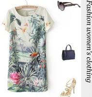2014 Summer Dresses Women Tropical Rainforest Parrot Printed Chiffon dress vestidos feminine Slim casual vestido mulheres