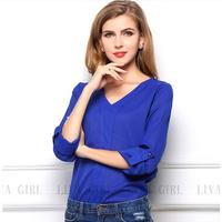S-XL HOT 2014 Women Spring summer V-neck chiffon elegant all-match solid botton casual spirals shirt blouses blue