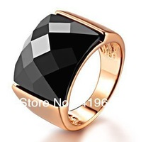 free   shipping Black uncanny mysterious black zirconia crystal and exaggerated fashion rose gold finger ring female