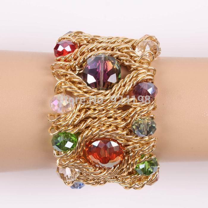 Minimum order $10 (mix order) braided gold chain elegant elastic make crystal bracelet for women free shipping(China (Mainland))