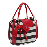 NEW 2013 HOT WEIDIPOLO BOW brand women leather handbag fashion striped red designer messenger bag totes freeship Promotion86247