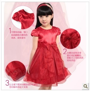 Free shipping Female child princess dance dress summer dresses red purple white one-piece dress performance wear wedding dress(China (Mainland))