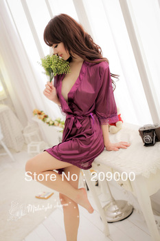 Free Shipping ,Free size Sexy lingerie Hot slik nighty dress,smooth sleepware,adult sexy ware