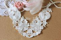 Promotional Cheap Diy clothes accessories 100% cotton white lace collar flower false collar applique lily