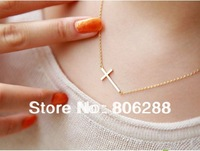 2013'NEW Lady Horizontal Sideways Cross 14k Gold Plated Pendant Necklace