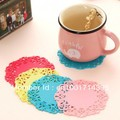 Free Shipping The simple circular silicone coaster pattern hollow insulation pad non-slip pad(China (Mainland))