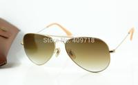 Free Shipping Hot Sell Designer Sunglasses Men's/Woman's Brand 3025-112/85 Matte Gold Sunglass Brown Gradient Lens 58mm