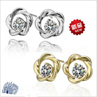 2 Colors 2013 New Fashion Jewelry Earrings High Quality 18KGP Austrian Crystal Rose Stud Earrings Women Free Shipping E286 E287