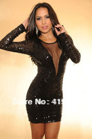 Free Shipping CL17810 New Famous Dress Long Sleeve Shine Sequins Element Transparent O-Neck Elegant Princess Dresses