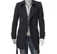 2015 New Men Trench Coat Double-breasted Outwear Cheap Winter Long Coat Woolen Coat