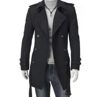 2014 New Men Trench Coat Double-breasted Outwear Cheap Winter Long Coat Woolen Coat