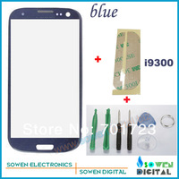 Outer LCD Screen Lens Top Glass for Samsung Galaxy S3 S 3 i9300 with Open tools Blue Color ,Free Shipping