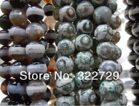 Free Shipping,Nature Faceted Buddhist Dzi Agate Bead,Round Ball Shape,Fit Bracelet Jewelry Making,Size:10mm,74Pcs/Lot