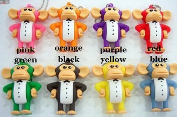 Wholesales 10pcs/lot big mouth monkey big ears monkey model usb flash stick pen drive free shipping+drop shipping