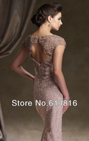 Elegant &beautiful embroidery  Beaded A-Line Mother of the bride long Dresses/Gown 2013 Free Shipping