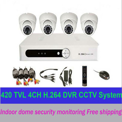 Free shipping 4CH DVR kit recorder IR night vision dome camerasCCTV System security surveillance video installation monitorMJ148(China (Mainland))