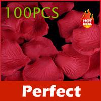 100 X Silk Rose Petals Wedding Flowers Decor Red #2