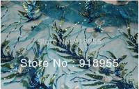 Free Shipping, Sky Blue Mimosa gauze sequins embroidery fabric, women cheongsam dresses garment DIY fabrics lace Material