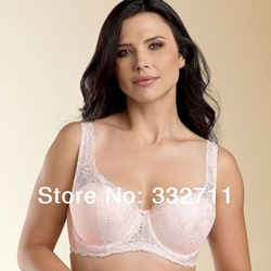 Lace Embroidered full coverage Balconette Underwired Bra Black White Pink Plus Size Band 36 38 40 42 44 Cup C D DD DDD(China (Mainland))