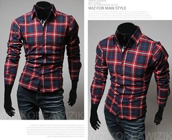Big discounts! 2013 men fashion high quality men's Slim shirt Plaid Shirt 16 colors XXL Free Shipping(China (Mainland))