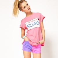 Wildfox california ca1997 print pink short-sleeve o-neck t-shirt female 6 full